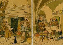 PSM (Barré & Dayez) Harry ELIOTT - Le Repas Des Moines * Vin Punch (Rhum) Chat Crèpe: 2 Cartes - Elliot