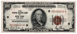 SERIES OF 1929 - THE FEDERAL RESERVE BANK OF NEW YORK 100 DOLLARS - THE UNITED OF STATES - B. FRANKLIN - VF+ - Federal Reserve Notes (1928-...)