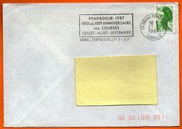 19 ARNAC POMPADOUR  COURSES   1987 Lettre Entière N° FF 642 - Marcofilia (sobres)