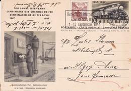 Suisse // Schweiz // Switzerland // Train Railway Postal 100 Ans Des Chemins De Fer 1847-1947 - Ganzsachen