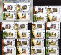 Philatelic Latvia 652/9,4x ZD,VB+Block 21 ** 15€ 50 Jahre CEPT 2006 Blocs Se-tenant Stamps On Stamp Sheet Bf EUROPA - Stamps