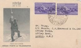 INDE Devant De Lettre FDC Yvert 44 X 2 Conquête Du Mont Everest CALCUTTA 2/10/1953 - 1950-59 Republic
