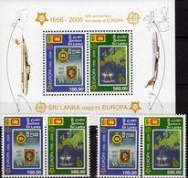 CEPT Sri Lanka 1525/6,ZD+Block 102 ** 45€ Segelschiff Stamps On Stamp CEYLON M/s Ships Sheet Bf 50 Year EUROPA 2006 - Timbres