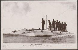 Crew On Deck, HMS Holland No 4 Submarine, C.1905-10 - Rotary Photo RP Postcard - Submarines