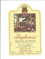 """Etiquette De Vin D' ITALIE """" Pagliarese - Chianti Classico 1992 """" - Rouges"""