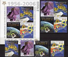 EUROPA-Karte 2006 Bosna-Hercegovina 166/9,VB+Block 7 ** 50€ S/s Maps Se-tenants Bloc Flags Sheet Bf 50 Jahre CEPT - Stamps