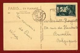 Carte Postale Vers Bruxelles, Timbre Mermoz 1934 - Francia