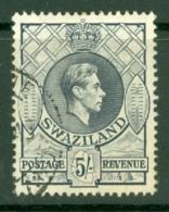 Swaziland: 1938/54   KGVI     SG37   5/-   [Perf: 13½ X 13]   Grey  Used - Swaziland (...-1967)