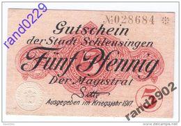 Deutschland Notgeld 5 Pfennig Tieste6570.05.01 Wz. SCHLEUSINGEN /110M/ - [11] Local Banknote Issues