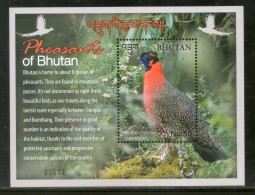 Bhutan 2017 Birds - Pheasants Fauna Animals Wildlife M/s MNH # 13133 - Bhutan