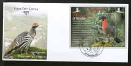 Bhutan 2017 Birds - Pheasants Fauna Animals Wildlife M/s On FDC # F145 - Bhutan