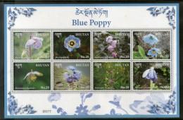 Bhutan 2017 Blue Poppy National Flowers Cactus Flora Plant Sheetlet MNH # 9630 - Bhutan
