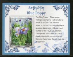 Bhutan 2017 Blue Poppy National Flowers Flora Plant M/s MNH # 12571 - Bhutan