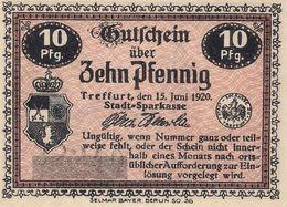 Deutschland Notgeld 10 Pfennig Tieste7415.05.21.3 TREFFURT /113M/ - [11] Local Banknote Issues