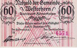 Deutschland Notgeld 60 Pfennig Mehl1414.1 WESTERNHORN /46M/ - [11] Local Banknote Issues