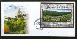 Bhutan 2017 Tourism Scenic Rural Nature Beauty Himalayan Archite M/s FDC # F144 - Bhutan