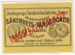 Jönköpings Tändsticksfabriks Patent - Paraffinerade Säkerhets-Tändstickor Utan Svafvel Och Fosfor - (Sverige/Sweden) - Zweden