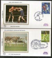 Great Britain 1980 Sport Cricket Boxing Football Athletic  Benham Silk FDCs  # 13309 - Cricket