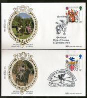 Great Britain 1984 College Of Arms Knights At Arms Horse Coat Of Arms Benham Silk FDCs # 13117 - Covers