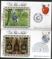 Great Britain 1987 Sir ISAAC Newton Science Museum Math Apple Benham Silk FDCs  # 13311 - Physics