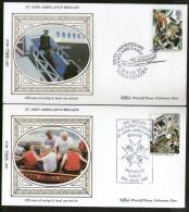 Great Britain 1987 St. John Ambulance Brigade Health First Aid Benham Silk FDCs #  13404 - First Aid