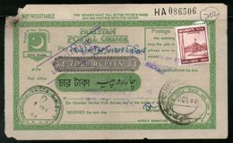 Pakistan Rs. 4  Postal Order With Additional Stamps Affixed Used # 13118 - Pakistan