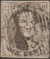 Belgique 1851 COB 6, 10 C Médaillon Filigrane LL. D 76, Assesse. Petit Coup De Ciseaux - Postmarks - Lines: Distributions