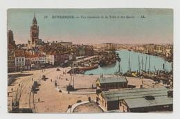 """France : CP """"15 - Dunkerque - Vue Générale De La Ville Et Des Quais""""  Affranchie Avec 2 Belles Semeuses 10c Bleu - Dunkerque"""