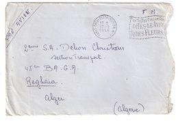 Lettre AVION En FM,PARIS TRI Distribution N° 1 Flamme Fleurs > Soldat 2 E SA Section Transport 45 E BAGA Reghaia Algérie - Storia Postale