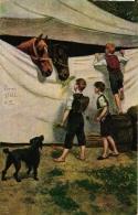 "Zirkus, Zirkuszelt, Kinder Schauen Ins Das Zelt, Pferde, Hund ""Circus Stoll"", Feldpost Aus Lübeck, 1918 - Zirkus"