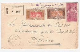 REC. OUIDAH N° 423- 10 JUIL 37  - 3 Timbres AOF-DAHOMEY N° 91/96 ET 98  -lettre Par Avion Jusqu'à Marseille -pour REIMS- - Dahomey (1899-1944)