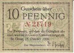 Deutschland Notgeld 10 Pfennig ST.GOAR /47M/ - [11] Local Banknote Issues