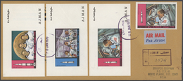 Br Adschman / Ajman: 1970 (5.1.), Apollo Programme Complete Set Of Seven Special Imperforate Miniature - Ajman