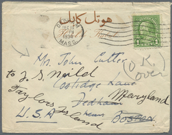 Br Afghanistan: 1934 Cover To Dedham Mass. Franked With On Reverse 1934 25p Strip Of Three Tied By KABO - Afghanistan