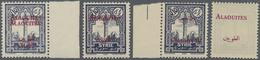 ** Alawiten-Gebiet: 1925, Syria Definitive 0,10pia. Dark Violet Four Singles With OVERPRINT VARIETIES I - Alaouites (1923-1930)
