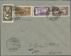"""Alawiten-Gebiet: 1926, Flight Cover """"TARTOUS - DAMASCUS"""", Dated 14/7/1926, Franked With Air Mail Set - Alaouites (1923-1930)"""
