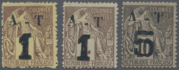 */(*) Annam Und Tongking: 1889, Allegory Stamps Of French Colonies Complete Set Of Three With Handstamp 'A - Annam And Tonkin (1892)