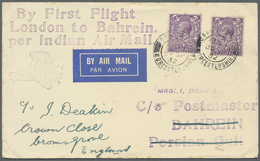 Br Bahrain: 1932 Two Different First Flight Covers From London To Bahrain, Both With '30 SP 32' Despatc - Bahrain (1965-...)