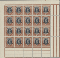 ** Bahrain: 1938-41 KGVI. 1r. Grey & Red-brown Complete Pane Of 20 With Sheet/gutter Margins All Round, - Bahrain (1965-...)