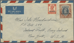 """Br Bahrain: 1940's: Three Airmail Covers From """"AWALI, Bahrain Island"""" (sender Note On Back) To New York - Bahrain (1965-...)"""