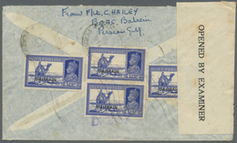 Br Bahrain: 1940. Air Mail Envelope Addressed To England Bearing SG 27, 3a 6p Blue (4) Tied By Bahrain/ - Bahrain (1965-...)