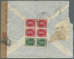 Br Bahrain: 1941. Registered Air Mail Envelope Addressed To Lndia Bearing SG 22, ½p Green (pair) And SG - Bahrain (1965-...)
