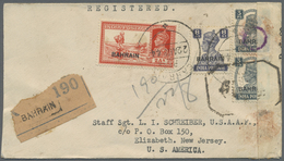 Br Bahrain: 1944 Registered And Censored Cover To Elizabeth, New Jersey, U.S.A. Franked By KGVI. 2a., 8 - Bahrain (1965-...)