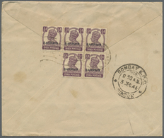 Br Bahrain: 1946. Air Mail Envelope Addressed To India Bearing SG 39, ½a Purple (block Of Five) Tied By - Bahrain (1965-...)