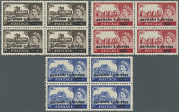 """** Bahrain: 1955, Overprints On GB """"Castles"""", Three Values Each As Block Of Four, Unmounted Mint (some - Bahrain (1965-...)"""