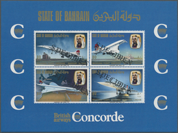 ** Bahrain: 1976, Concorde First Flight Bahrain-London, Souvenir Sheet With Four Diagonal Black SPECIME - Bahrain (1965-...)