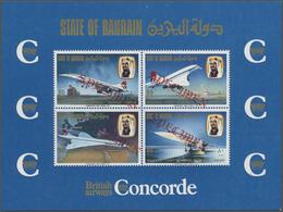 ** Bahrain: 1976, Concorde First Flight Bahrain-London, Souvenir Sheet With Four Diagonal Red SPECIMEN - Bahrain (1965-...)
