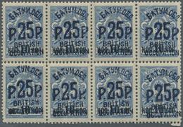 ** Batum: 1920: 25r. On 10k. On 7k. Blue With Batum Ovpt. In Blue, Horiz. Block Of Eight, Mint Never Hi - Batum (1919-1920)