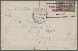 "Br Birma / Burma / Myanmar: 1927, Vintcent Experimental Flight Rangoon - Penang, Violett Boxed ""RANGOON - Myanmar (Burma 1948-...)"