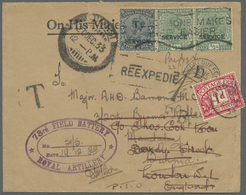 Br Birma / Burma / Myanmar: Incoming Mail: 1933, India Official Stamps 3 Ps. Slate And Pair 1/2 A. Gree - Myanmar (Burma 1948-...)